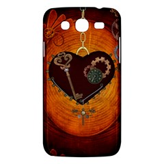 Steampunk, Heart With Gears, Dragonfly And Clocks Samsung Galaxy Mega 5 8 I9152 Hardshell Case  by FantasyWorld7