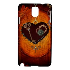 Steampunk, Heart With Gears, Dragonfly And Clocks Samsung Galaxy Note 3 N9005 Hardshell Case by FantasyWorld7