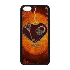Steampunk, Heart With Gears, Dragonfly And Clocks Apple Iphone 5c Seamless Case (black) by FantasyWorld7
