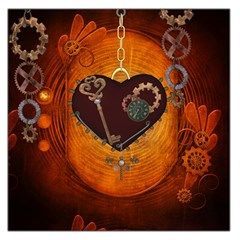 Steampunk, Heart With Gears, Dragonfly And Clocks Large Satin Scarf (square) by FantasyWorld7