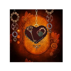 Steampunk, Heart With Gears, Dragonfly And Clocks Small Satin Scarf (square) by FantasyWorld7