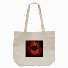 Steampunk, Heart With Gears, Dragonfly And Clocks Tote Bag (cream) by FantasyWorld7