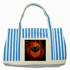 Steampunk, Heart With Gears, Dragonfly And Clocks Striped Blue Tote Bag by FantasyWorld7