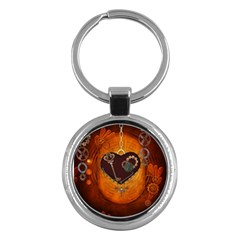 Steampunk, Heart With Gears, Dragonfly And Clocks Key Chains (round)  by FantasyWorld7