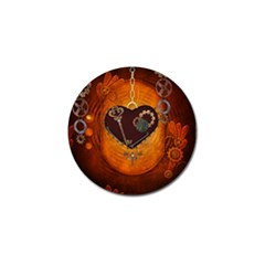 Steampunk, Heart With Gears, Dragonfly And Clocks Golf Ball Marker by FantasyWorld7