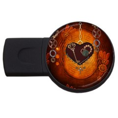 Steampunk, Heart With Gears, Dragonfly And Clocks Usb Flash Drive Round (4 Gb) by FantasyWorld7