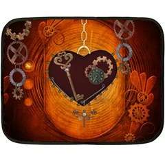 Steampunk, Heart With Gears, Dragonfly And Clocks Double Sided Fleece Blanket (mini)  by FantasyWorld7