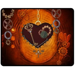 Steampunk, Heart With Gears, Dragonfly And Clocks Fleece Blanket (medium)  by FantasyWorld7