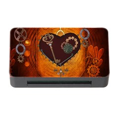 Steampunk, Heart With Gears, Dragonfly And Clocks Memory Card Reader With Cf by FantasyWorld7