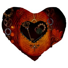 Steampunk, Heart With Gears, Dragonfly And Clocks Large 19  Premium Heart Shape Cushions by FantasyWorld7