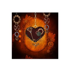 Steampunk, Heart With Gears, Dragonfly And Clocks Satin Bandana Scarf by FantasyWorld7