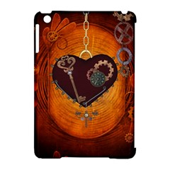 Steampunk, Heart With Gears, Dragonfly And Clocks Apple Ipad Mini Hardshell Case (compatible With Smart Cover) by FantasyWorld7