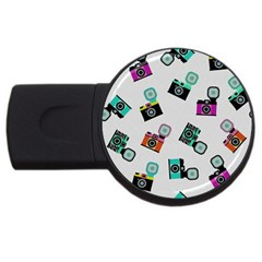 Old Cameras Pattern                        Usb Flash Drive Round (4 Gb) by LalyLauraFLM
