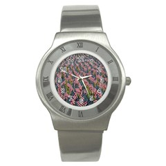 Repetition Retro Wallpaper Stripes Stainless Steel Watch by BangZart