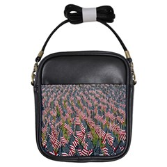 Repetition Retro Wallpaper Stripes Girls Sling Bags by BangZart