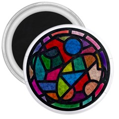 Stained Glass Color Texture Sacra 3  Magnets by BangZart