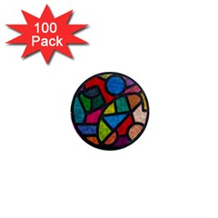 Stained Glass Color Texture Sacra 1  Mini Magnets (100 Pack)  by BangZart