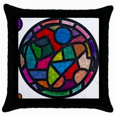 Stained Glass Color Texture Sacra Throw Pillow Case (black)