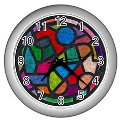 Stained Glass Color Texture Sacra Wall Clocks (silver)  by BangZart