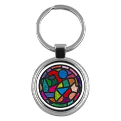 Stained Glass Color Texture Sacra Key Chains (round)