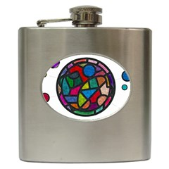 Stained Glass Color Texture Sacra Hip Flask (6 Oz)