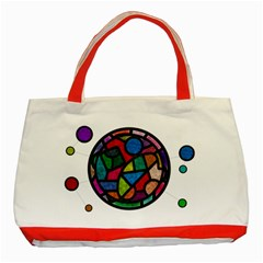 Stained Glass Color Texture Sacra Classic Tote Bag (red)