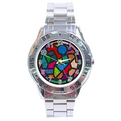 Stained Glass Color Texture Sacra Stainless Steel Analogue Watch by BangZart
