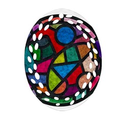 Stained Glass Color Texture Sacra Oval Filigree Ornament (two Sides) by BangZart
