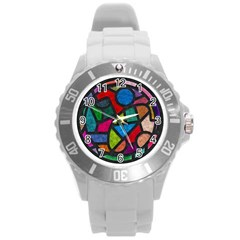 Stained Glass Color Texture Sacra Round Plastic Sport Watch (l) by BangZart