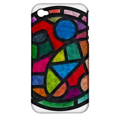 Stained Glass Color Texture Sacra Apple Iphone 4/4s Hardshell Case (pc+silicone)