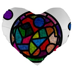Stained Glass Color Texture Sacra Large 19  Premium Flano Heart Shape Cushions by BangZart
