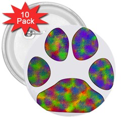Paw 3  Buttons (10 Pack)  by BangZart