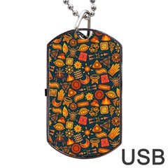Pattern Background Ethnic Tribal Dog Tag Usb Flash (one Side) by BangZart