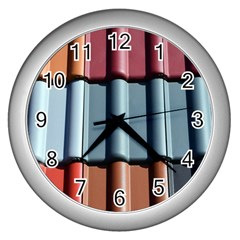 Shingle Roof Shingles Roofing Tile Wall Clocks (silver)  by BangZart
