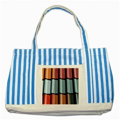 Shingle Roof Shingles Roofing Tile Striped Blue Tote Bag by BangZart