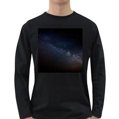 Cosmos Dark Hd Wallpaper Milky Way Long Sleeve Dark T Shirts by BangZart
