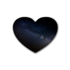 Cosmos Dark Hd Wallpaper Milky Way Rubber Coaster (heart)  by BangZart