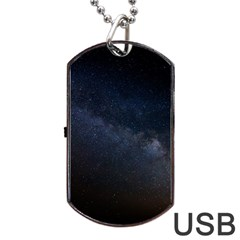 Cosmos Dark Hd Wallpaper Milky Way Dog Tag Usb Flash (one Side)