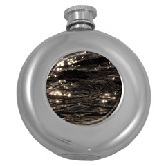 Lake Water Wave Mirroring Texture Round Hip Flask (5 Oz) by BangZart