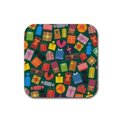 Presents Gifts Background Colorful Rubber Square Coaster (4 Pack)  by BangZart