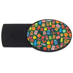 Presents Gifts Background Colorful Usb Flash Drive Oval (2 Gb)