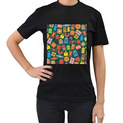Presents Gifts Background Colorful Women s T Shirt (black) (two Sided)