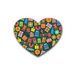 Presents Gifts Background Colorful Rubber Coaster (heart)  by BangZart