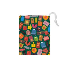 Presents Gifts Background Colorful Drawstring Pouches (small)  by BangZart