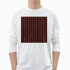 Chain Rusty Links Iron Metal Rust White Long Sleeve T Shirts by BangZart