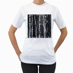 Birch Forest Trees Wood Natural Women s T Shirt (white) (two Sided)