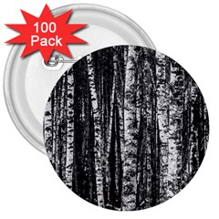 Birch Forest Trees Wood Natural 3  Buttons (100 Pack)  by BangZart
