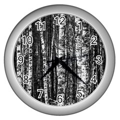 Birch Forest Trees Wood Natural Wall Clocks (silver)