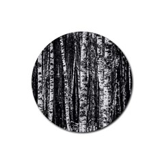 Birch Forest Trees Wood Natural Rubber Round Coaster (4 Pack)  by BangZart