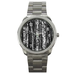 Birch Forest Trees Wood Natural Sport Metal Watch by BangZart